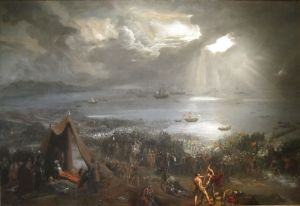 1280px-'Battle_of_Clontarf',_oil_on_canvas_painting_by_Hugh_Frazer,_1826
