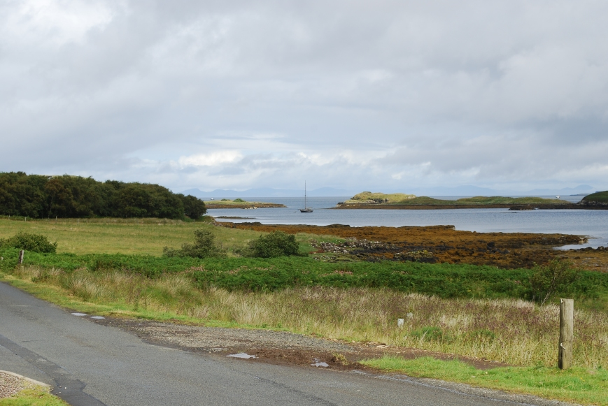 "View across the B884 in Colbost, from ""The Three Chimneys"" to Loch Dunvegan"