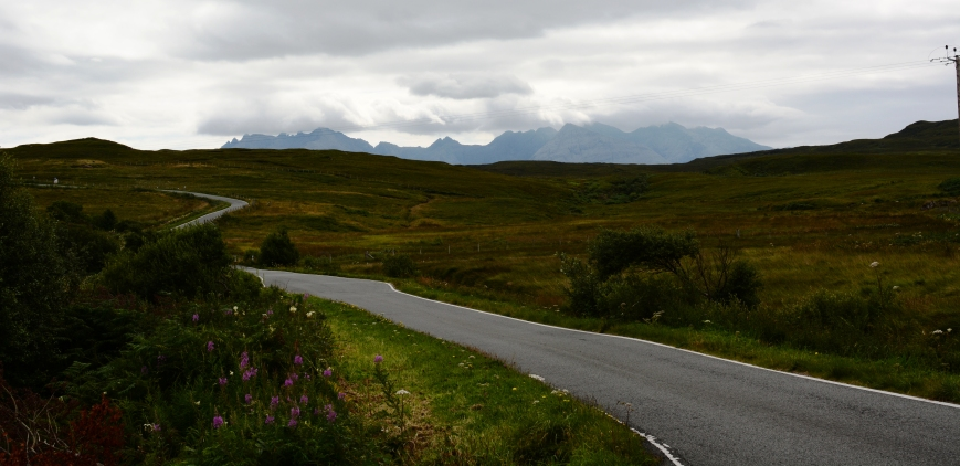 Cuillins visible from the road leading from Carbost, Skye, where the Talisker distillery is located